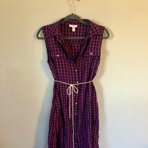 Liz Lange Maternity pink & navy gingham dress